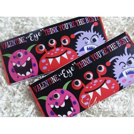 Valentine Candy Bar Wrapper or Chocolate Bar Favor Assembled-Monster Eyes-Space Aliens-Monster Birthday-Party Design-School-Class Party thumb
