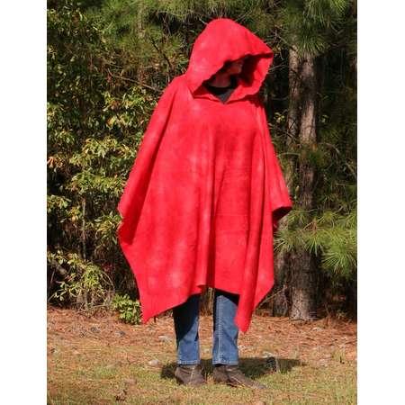 Hellshadow Hooded Long Poncho    Red Antipill Fleece thumb