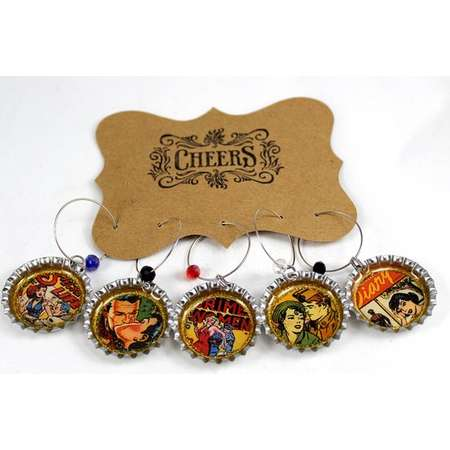 Comic Book Romance Retro Pulp Fiction Wine or Beer Charms Bottle Cap Drink Charms Girls Night Out Happy Hour Glass Charms Party Favor thumb