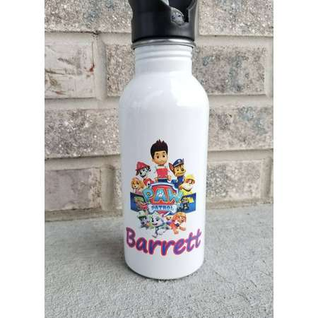 Custom Paw Patrol Water Bottle/Personalized/Stainless Steel Water Bottle/Straw Top/kid bottle thumb