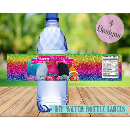 Trolls Water Bottle Labels- Trolls Birthday Party Printable-Digital-Instant Download thumb