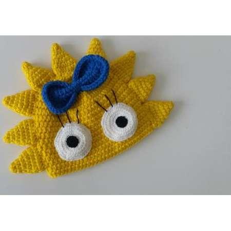 crochet inspired Simpsons hat-Maggie hat-halloween costume-Newborn Beanie-Crocheted Cap,for twins thumb