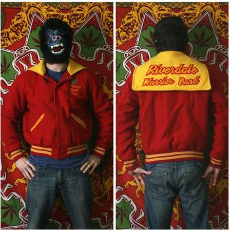 Vintage Varsity Jacket. Riverdale Warrior Band Bright Red And Yellow Varsity Jacket. Name and Rose Embroidered On The Breast. thumb