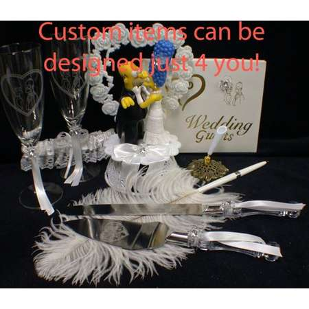 Marge & o Homer SIMPSONS Wedding Theme, Pick! Cake Topper or Glasses or Cake Knife Set or Guest Book simpson funny Kiss thumb