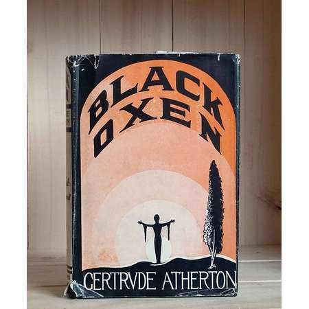 Black Oxen by Gertrude Atherton 1924 Antique Book Stunning Cover Art Pulp Fiction Dust Jacket Women Vintage Fiction Silent Movie Tie-In thumb