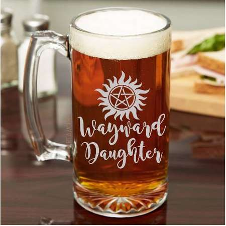 Wayward Daughter  *Supernatural*    - etched either beer mug, stemmed or stemless wine glass Free Monogram or Personalization -pentacle thumb