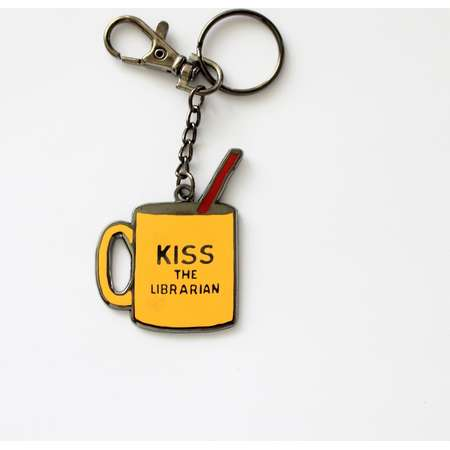 """Kiss the Librarian Buffy the Vampire Slayer Keychain with Lobster Claw Clasp // 2"""" hard enamel thumb"""