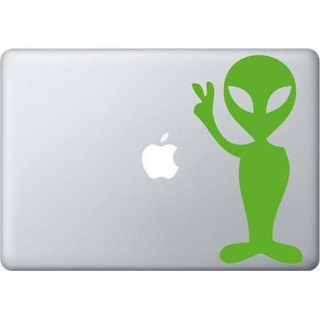 Alien peace laptop DECAL- macbook PC computer- Gadget Art / Accessory - martian space hipster nerd Geek Chic perfect gift thumb