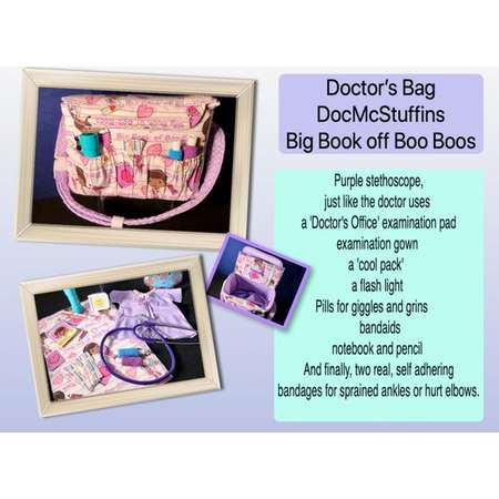 Doc McStuffins Doctor's Bag in Big Book of Boo Boos - Lavender Dots Lining and all the necessities to care for her baby thumb