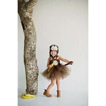 Monkey Halloween Costume Set, Tutu Dress Handmade Crochet Hat Outift Baby Girls Halloween Costume Chimp Curious George Costume zoo Animal thumb
