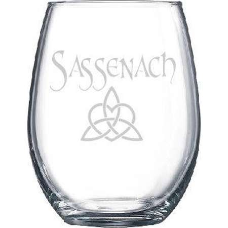 Sassenach Dinna Fash Outlander Theme Claire Diana Gabaldon Wine Drinking Glass Gift Dragonfly in Amber Book Series thumb