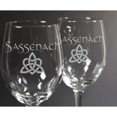 Sassenach Wine Glass Set, Outlander, Diana Gabaldon, Drinking Glass, Dragonfly in Amber, Book Series thumb