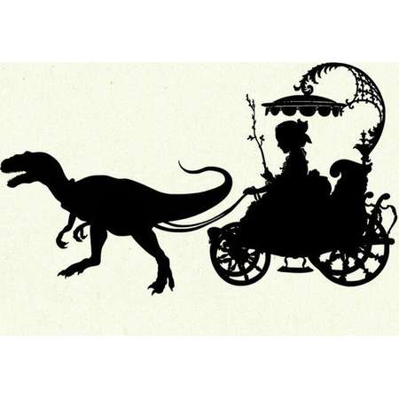 Dinosaur Art Print Silhouette Girl Carriage Pet Raptor Velociraptor SMALL art print Victorian Steampunk Jurassic Park thumb