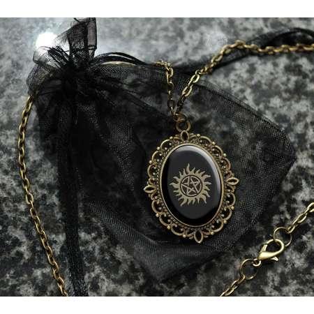 Supernatural sigil cameo necklace | anti demon pendant | Winchester tattoo jewelry | Destiel cosplay prop | costume jewellery accessory thumb