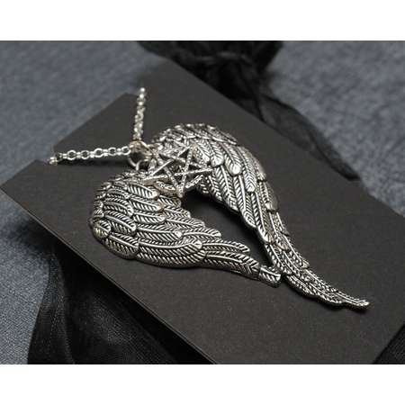 Supernatural Castiel necklace | heart shaped angel wings and pentagram | fandom accessory | cosplay prop replica jewelry | costume jewellery thumb
