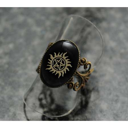 Supernatural sigil ring | Sam and Dean Winchester brothers tattoo | fandom replica | cosplay prop jewelry | costume jewellery thumb