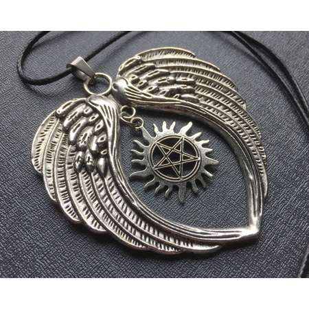 Supernatural Castiel necklace | heart angel wings | anti demon possession sigil | fandom costume jewelry | cosplay prop replica jewellery thumb