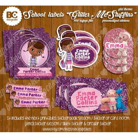 """Back to School Labels Personalized book labels, """"Doc McStuffins"""" glitter, printable, kids name, pony glitter PDF and jpg file to print  girl thumb"""