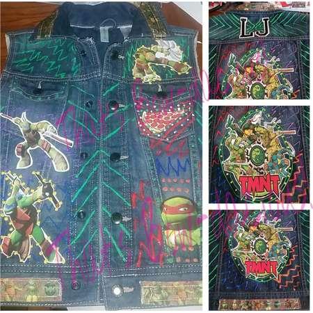 TMNT Vest Ninja Turtle Birthday Shirt Denim Vest Custom Denim Vest Denim Jacket  Custom Teenage Mutant Ninja Turtles Converse TMNT Chucks thumb