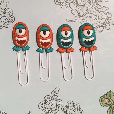Monster Bookmark paperclips, Alien Bookmarks, Kids Bookmarks, Children's Bookmarks, Planner clips, filofax clips thumb