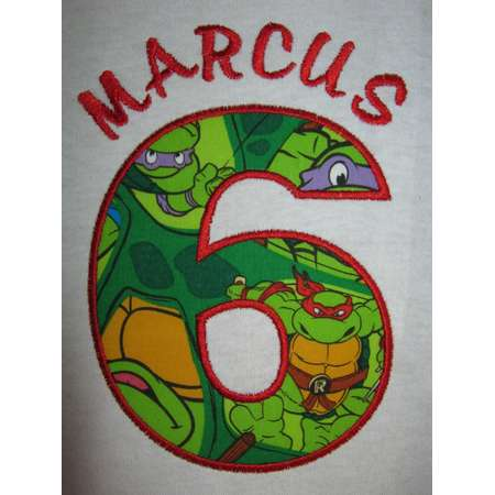 TMNT Personalized Teenage Mutant Ninja Turtles Birthday Shirt shown here as 6th birthday party shirt number can be changed thumb