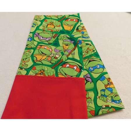 Pillowcase made from Teenage Mutant Ninja Turtles Heros in a half shell cotton fabric w red trim Michelangelo, Raphael, Leonardo, Donatello thumb