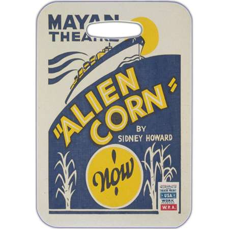 Luggage Tag, Bag Finder, Backpack ID, Identification, School, Sports, Diaper Bag Tag, Mayan Theatre Alien Corn WPA Poster Design thumb