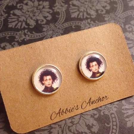 Edward Scissorhands Stud Earrings, Halloween Jewelry, Costume, Gothic, Goth, Gift thumb