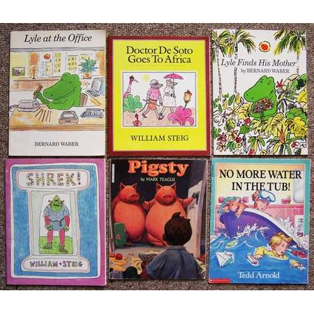 1990s Childrens Book Lot - Collection of 20 Teacher, Kid Books - Noisy Book, Tidy Titch, Minerva Louise, Shrek, Pigsty, Lyle at the Office thumb