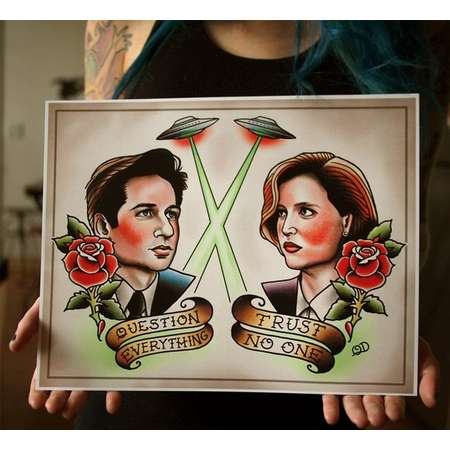 Mulder and Scully Tattoo Flash thumb