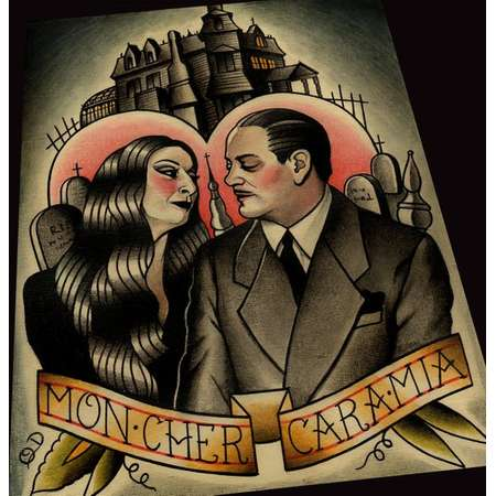 Morticia and Gomez The Adams Family Art Print thumb