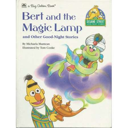 Vintage Sesame Street Good-Night Stories Harcover Book - BERT and the MAGIC LAMP and other Good Night Stores - 1989 - A Big Golden Book thumb