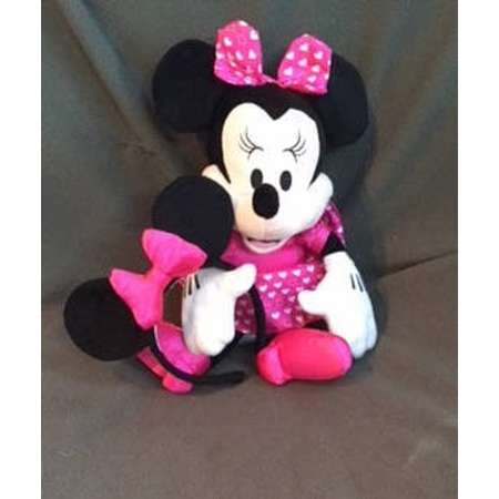 VALENTINE Plush, MUSICAL MINNIE Mouse..Press button for lovely Music She moves.Pink Satin Dress & Bow with hearts, Added Great Pretend Ears thumb