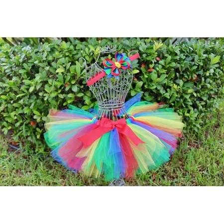Little Girl's Red Yellow Blue and Green Fluffy Sewn Tutu Skirt, Elmo Sesame Street - Lego - Birthday Party - Dress Up - Halloween Costume thumb