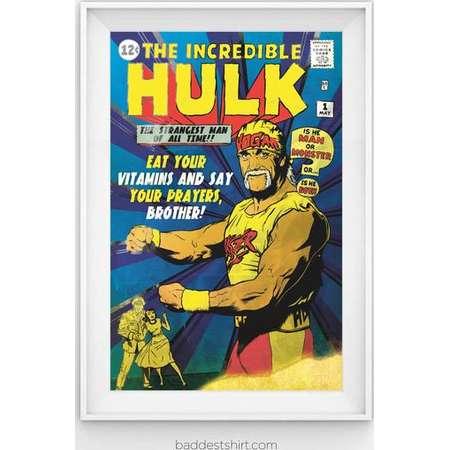 The Incredible Hulk Hogan WWE WWF Parody Poster // 11x17 Comic Art Film Print thumb