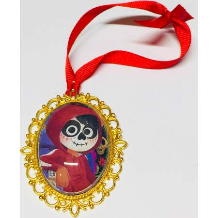 Miguel Large Oval Cameo Necklace Brooch or Ornament. Disney Pixar Coco Storybook Illustration thumb
