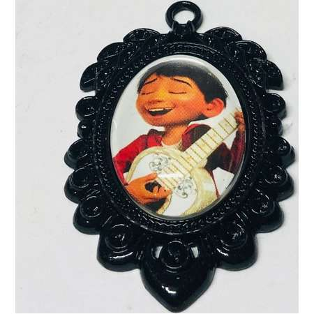 Miguel Small Oval Cameo Brooch Keychain or Necklace. Disney Pixar Coco Storybook Jewelry thumb