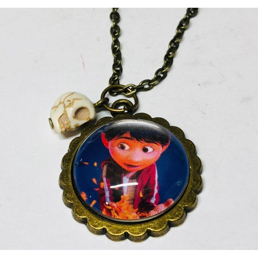 Disney Pixar Coco Storybook Jewelry Miguel Small Oval Cameo Brooch Keychain or Necklace