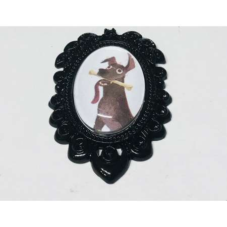 Dante Small Oval Cameo Brooch Keychain or Necklace. Disney Pixar Coco Storybook Jewelry thumb