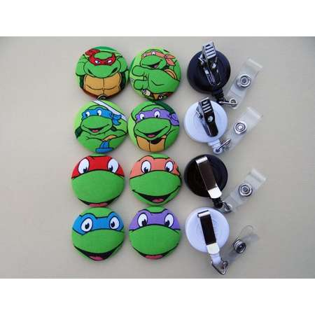 Retractable Badge Holder - Fabric Covered Button - Teenage Mutant Ninja Turtles thumb