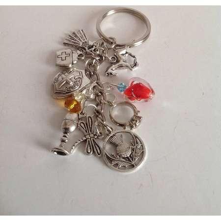 Scottish themed key Chain/bag charm, Bag charm inspired by Highlander, Outlander, Historical Romance Bagcharm thumb