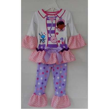 Doc McStuffins Pajama Set with Handmade Ruffles, Character Pajamas, Girls ruffle Pajamas. Cartoon Character Pajama Set thumb