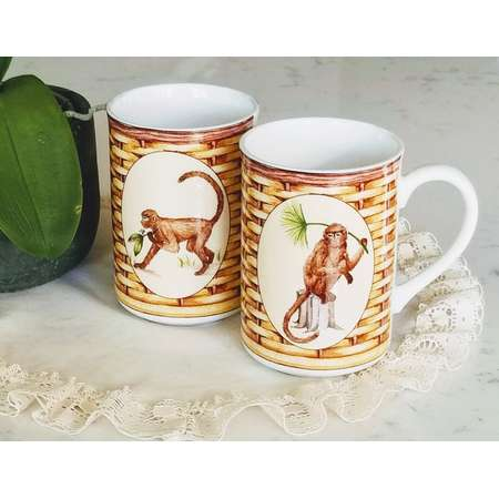 Set of 2, American Atelier Monkey mugs, 5029, Porcelain, Vintage Mugs, Coffee mugs, curious George, oven dishwasher microwave safe thumb