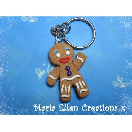 Gingy gingerbread man keychain, gingerbread man charm - fake food - shrek inspired - gingy keychain - christmas charm, shrek part, costume thumb