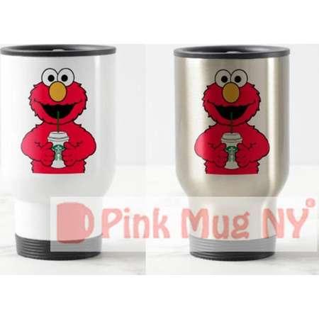 Personalized 15oz Stainless Steel Travel Mug / designed PinkMugNY- I love Starbucks - Elmo - Sesame Street thumb