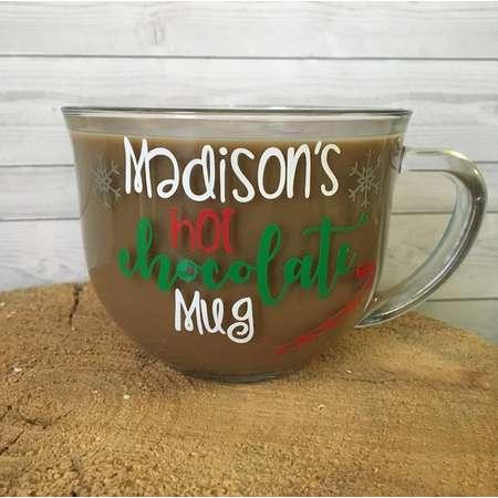 Hot Chocolate 18 oz Custom Christmas Gift Glass Mug. Kid gift, Hot Coco Mug, Childrens Mug thumb