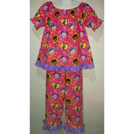 Short sleeve Girls Doc McStuffins Lambie Boutique Slumber Birthday Party Princess Cotton Pajamas Ruffle Pant Set thumb