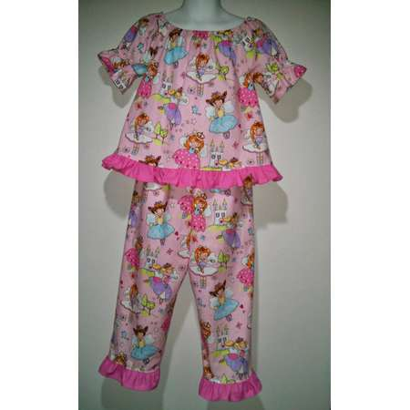 Short sleeve Girls Frozen Olaf Doc McStuffins Boutique Slumber Birthday Party Princess Cotton Pajamas Ruffle Pant Set thumb