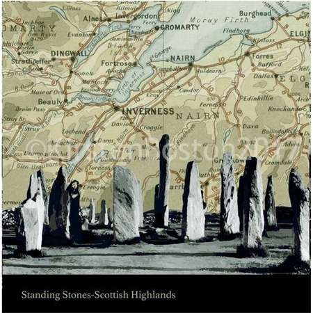 Outlander, Standing Stones, Scottish Highlands, Callanish, Stone Circle, Old, Map, Silhouette, Vintage, Giclée, Print, Poster, Square, Gift thumb