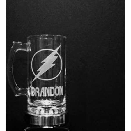 The Flash Mug - Personalized Flash Lightning Bolt Mug - DEEP ETCHED Glass Flash Beer Mug thumb